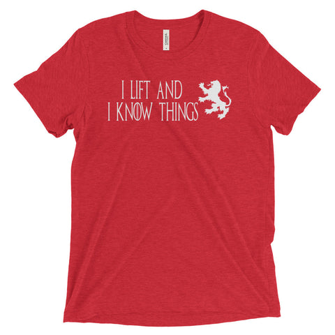 Men's Tri-blend T-shirt - I Lift & I Know Things (white logo) - Zendorphin Design