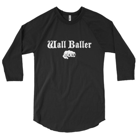 Unisex Poly-Cotton Raglan Shirt - Wall Baller 14 (white logo) - Zendorphin Design