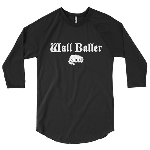 Unisex Poly-Cotton Raglan Shirt - Wall Baller 30 (white logo) - Zendorphin Design