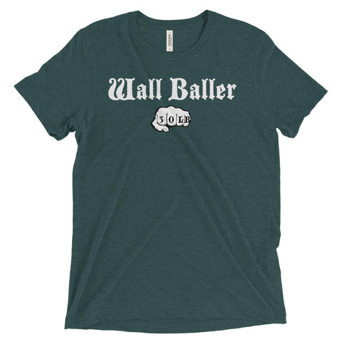 Men's Tri-blend T-shirt - Wall Baller 30 (white logo) - Zendorphin Design