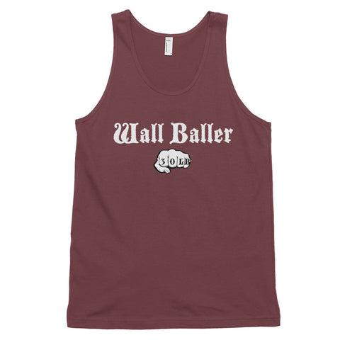 Men's Cotton Jersey Tank Top - Wall Baller 30 (white logo) - Zendorphin Design