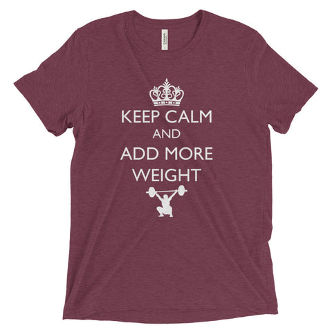 Men's Tri-blend T-shirt - Keep Calm & Add More Weight (white logo) - Zendorphin Design
