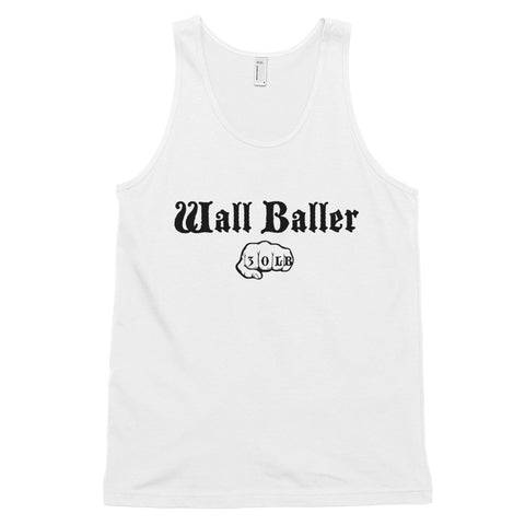 Men's Cotton Jersey Tank Top - Wall Baller 30 (black logo) - Zendorphin Design