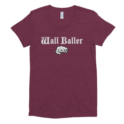Women's Tri-blend T-shirt - Wall Baller 14 (white logo) - Zendorphin Design