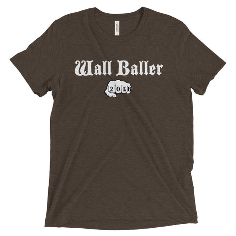 Men's Tri-blend T-shirt - Wall Baller 20 (white logo) - Zendorphin Design
