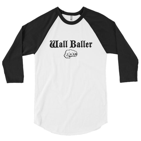 Unisex Poly-Cotton Raglan Shirt - Wall Baller 14 (black logo) - Zendorphin Design