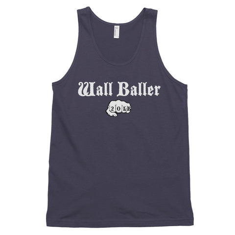 Men's Cotton Jersey Tank Top - Wall Baller 20 (white logo) - Zendorphin Design