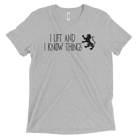 Men's Tri-blend T-shirt - I Lift & I Know Things (black logo) - Zendorphin Design