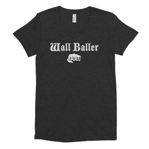 Women's Tri-blend T-shirt - Wall Baller 20 (white logo) - Zendorphin Design