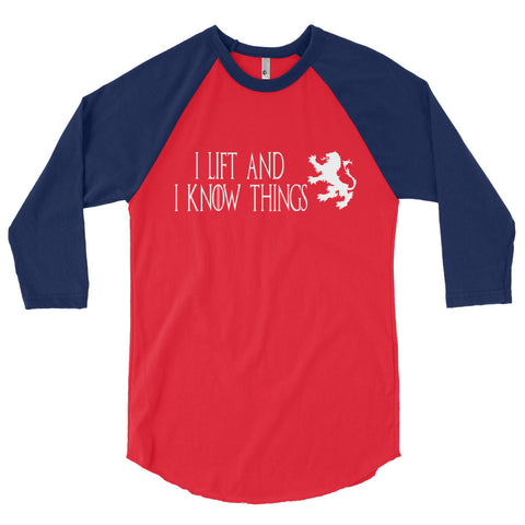 Unisex Poly-Cotton Raglan Shirt - I Lift & I Know Things (white logo) - Zendorphin Design