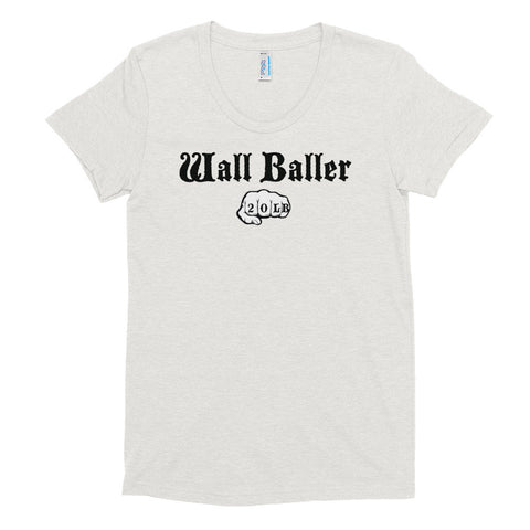 Women's Tri-blend T-shirt - Wall Baller 20 (black logo) - Zendorphin Design