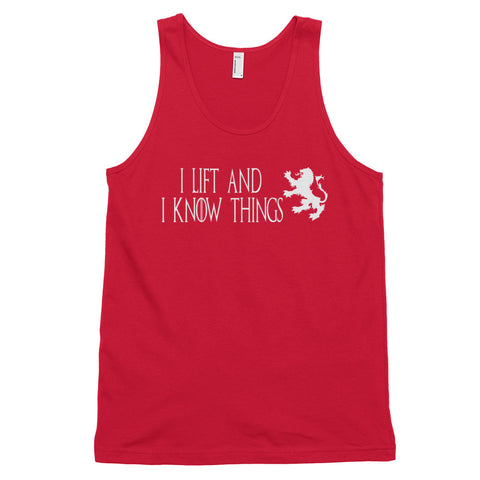 Men's Cotton Jersey Tank Top - I Lift & I Know Things (white logo) - Zendorphin Design