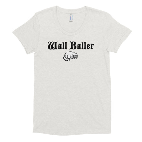 Women's Tri-blend T-shirt - Wall Baller 14 (black logo) - Zendorphin Design