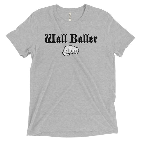 Men's Tri-blend T-shirt - Wall Baller 30 (black logo) - Zendorphin Design