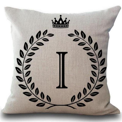Deluxe Royalty Crown Letter Decorative Cushion Cover