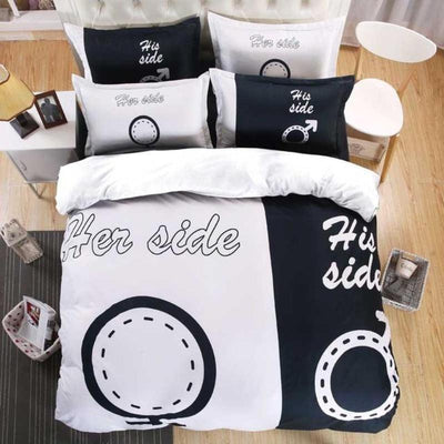 """Her Side His Side"" Deluxe Bed Linen Duvet Cover Set"