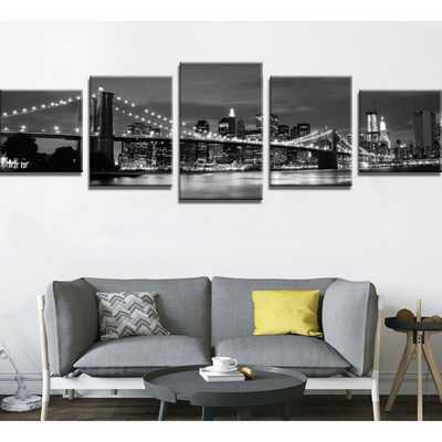 """New York Nights"" 5 Piece Deluxe Wall Art Canvas"