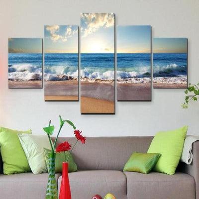 """Beachside Bliss"" 5 Piece Deluxe Wall Art Canvas"