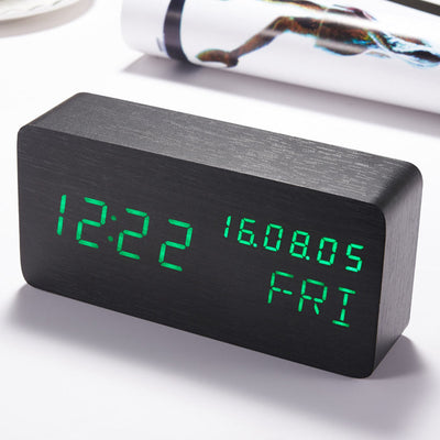Hand Crafted Wooden Voice Activated LED Smart Clock