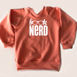 Child Crewneck Bamboo Fleece Top Book Nerd in Two Colours