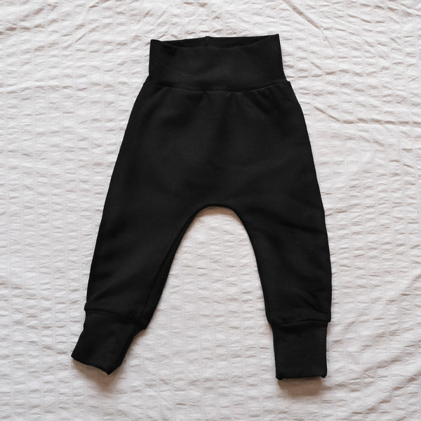 Children's Winter Harem Pants Bamboo Fleece Black and Melon