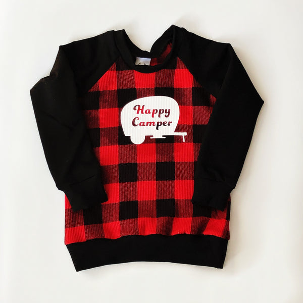 Child's Crewneck Happy Camper in Waffle Plaid