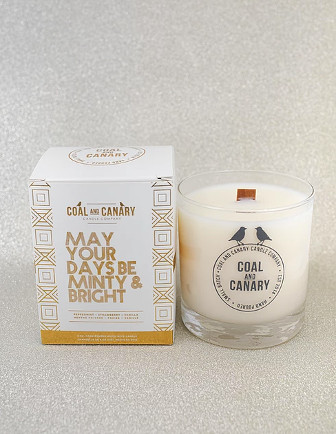 May Your Days Be Minty and Bright Coal and Canary Candles