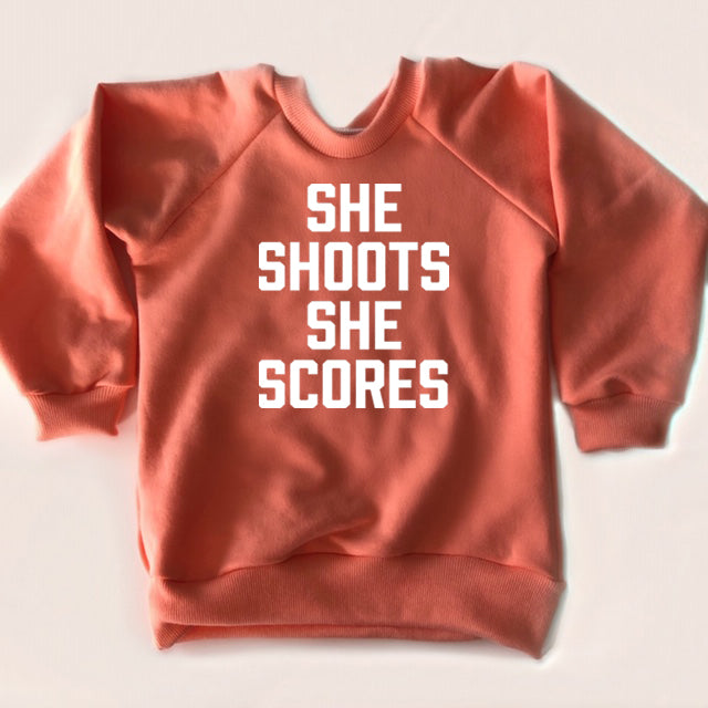 Child Crewneck Bamboo Fleece Top She Shoots She Scores in Two Colours