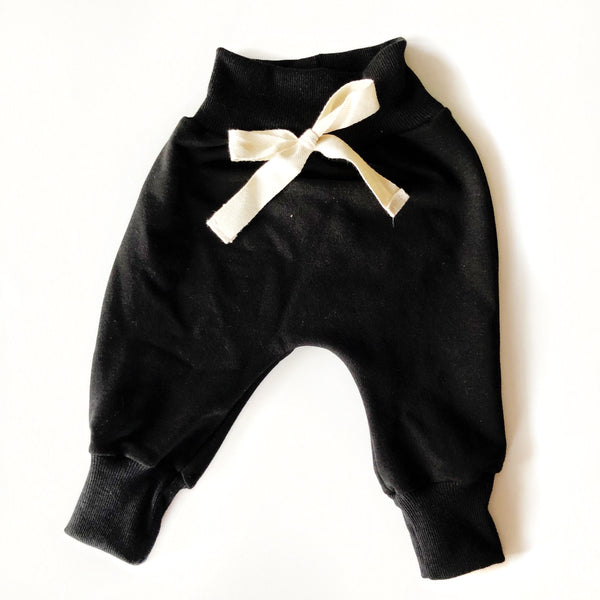 Kids & Baby Harem Pants Bamboo Fleece Black and Melon