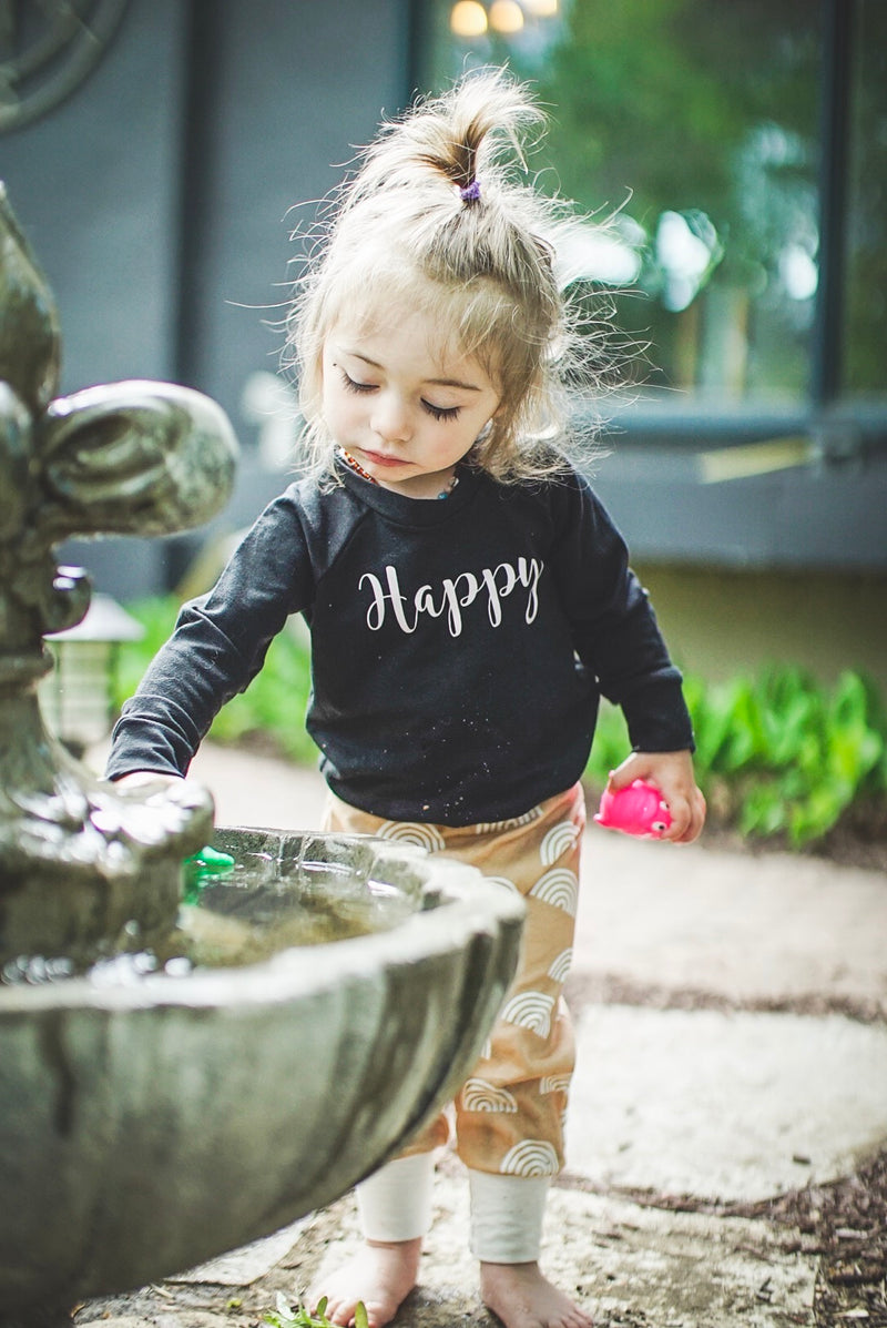 Child's Crewneck Bamboo Happy in Black and Blush Writing