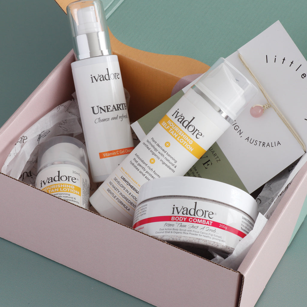 Ivadore I'm Glowing Gift Set. Products shown in soft pink, green, and mustard patterned box with printed tissue paper.