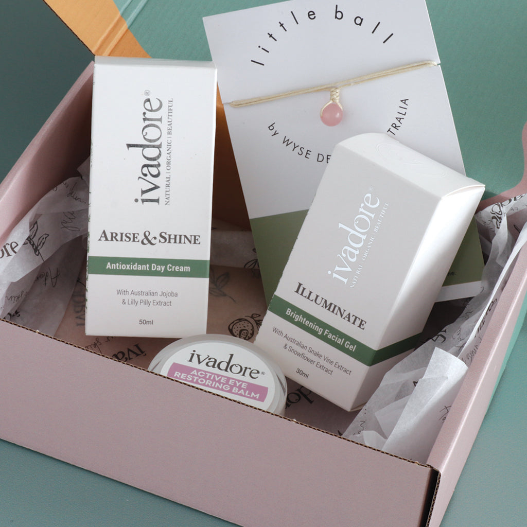 Ivadore I'm Wonderful Gift Set. Products shown in soft pink, green, and mustard patterned box with printed tissue paper.