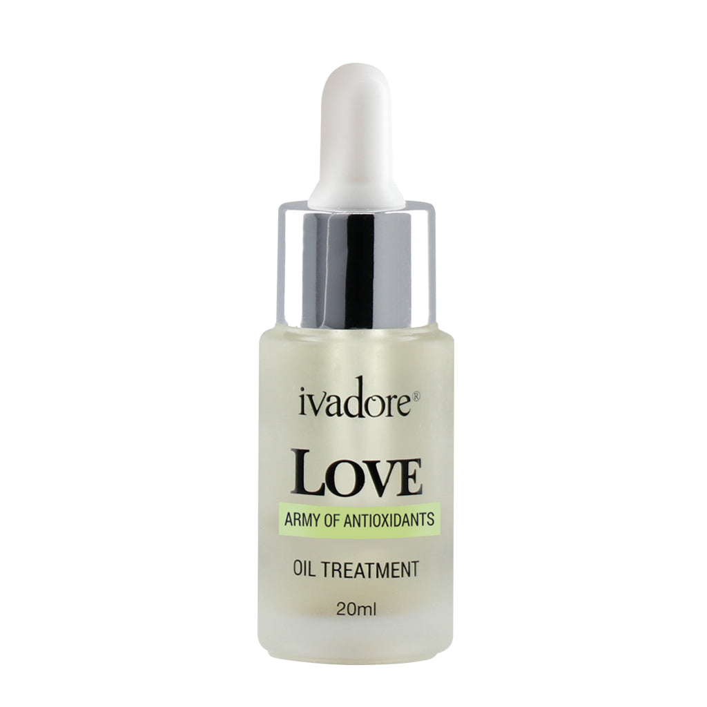 Ivadore love face oil in glass dropper bottle. Made with nourishing natural oils to relieve dry skin and deeply hydrate.