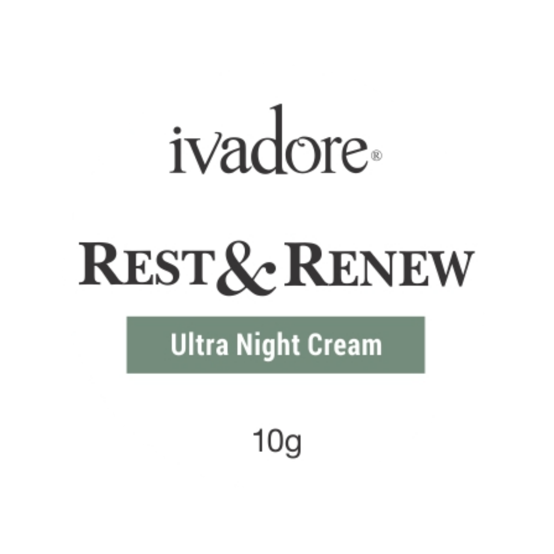 Ivadore moisturising Ultra Night Cream sample size. Deeply hydrates and stimulates collagen production.