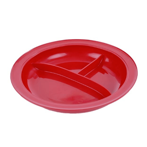 Partition Plate with 3 compartments and rim in red color