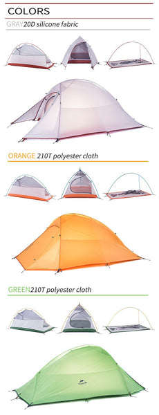 210T Double-Layer 2 Person Tent (Gray/Orange/Green)