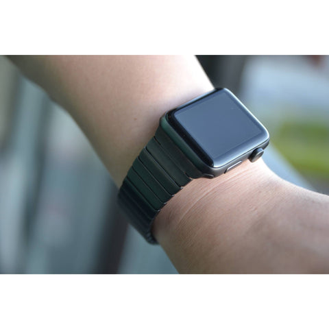 Black Ceramic Style Stainless Steel Apple Watch Band | OzStraps