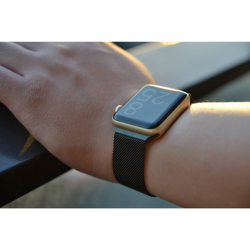 Gold Milanese Loop On Black Apple Watch Shop Clothing Shoes Online