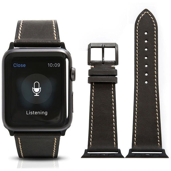Black French Calf Leather Apple Watch Band | OzStraps