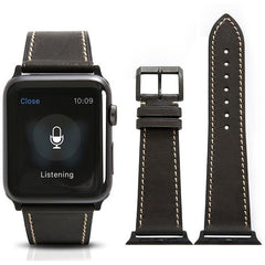 Black French Calf Leather Apple Watch Band - OzStraps