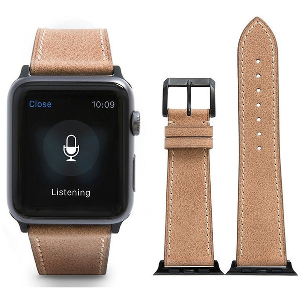 Light Brown French Calf Leather Apple Watch Band - OzStraps