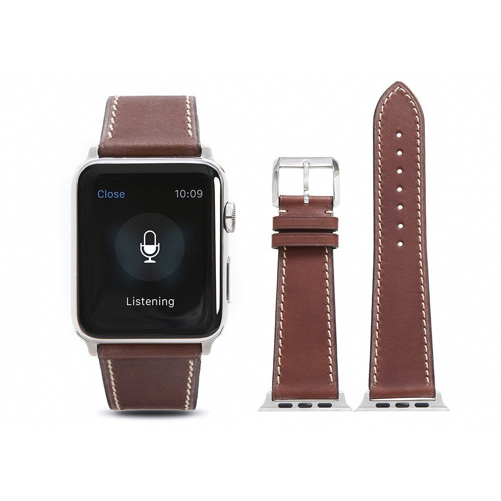 Dark Brown French Calf Leather Apple Watch Band - OzStraps