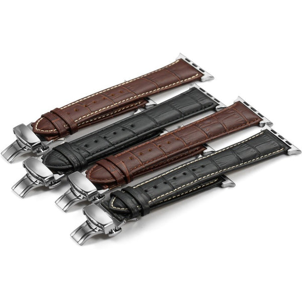 Italian Calf Leather Deployant Clasp Apple Watch Bands | OzStraps