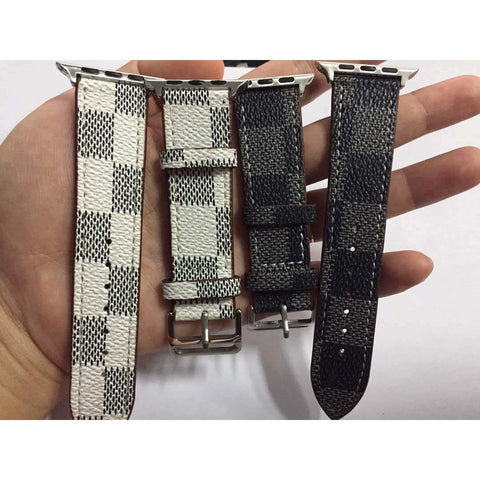 Chequered Leather Apple Watch Band - OzStraps