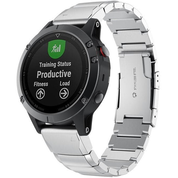 Silver Ceramic Stainless Steel Garmin Fenix 5 Band | OzStraps