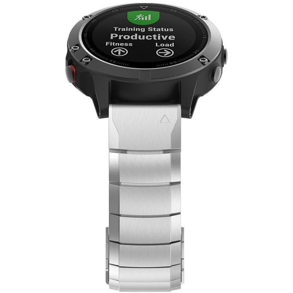 Silver Ceramic Stainless Steel Garmin Fenix 5X Band | OzStraps