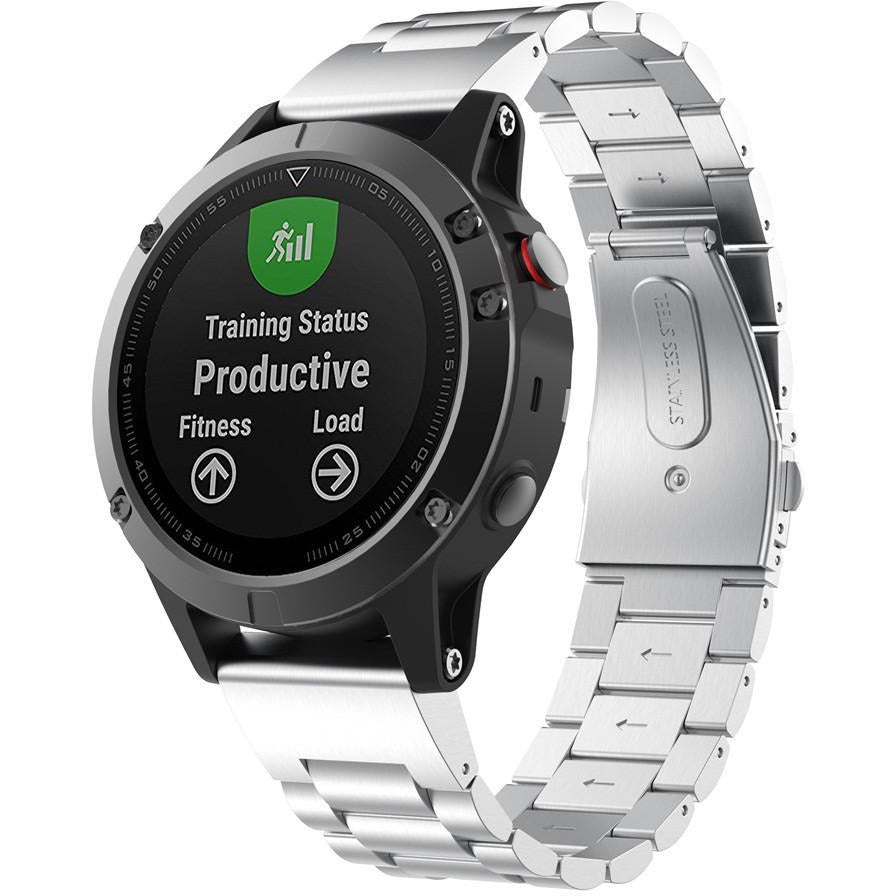 Silver Classic Stainless Steel Garmin Fenix 5 Band | OzStraps