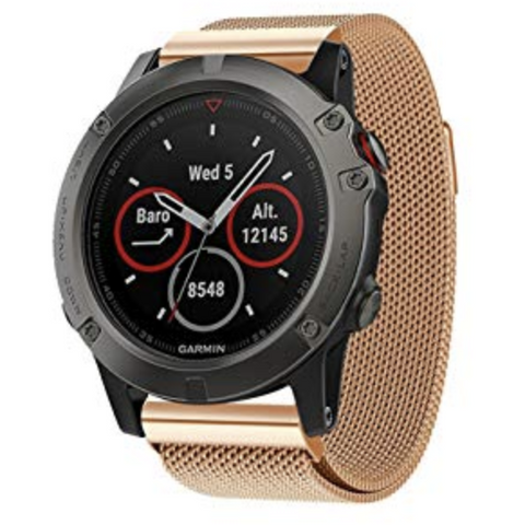 Rose Gold Milanese Loop Garmin Fenix 5X Band | OzStraps