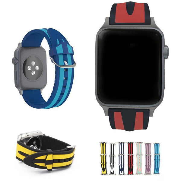 Striped Silicone Apple Watch Band | OzStraps
