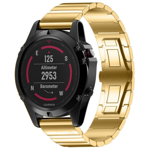 Gold Ceramic Stainless Steel Garmin Fenix 5X Band | OzStraps